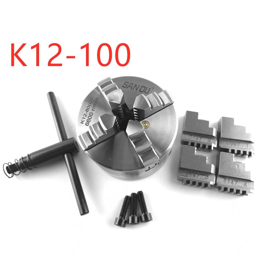 Mandrin auto-centrant à 4 mâchoires de haute précision SAN OU K12-100 pour tour mécanique pour fraiseuse de forage