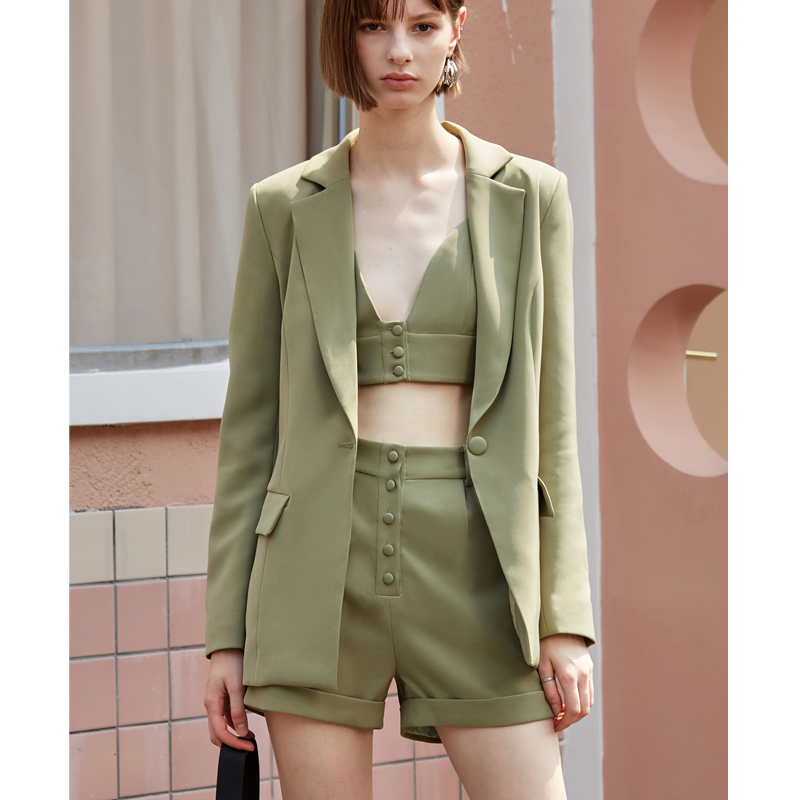 AEL Ladies 3 Pieces Set Blazer Woman Slim Sexy Blazer Camis Tops And Women Short Pants Suits Streetwear