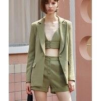 AEL Ladies 3 Pieces Set Blazer woman Slim Sexy Blazer Camis Tops and Women short Pants Suits streetwear