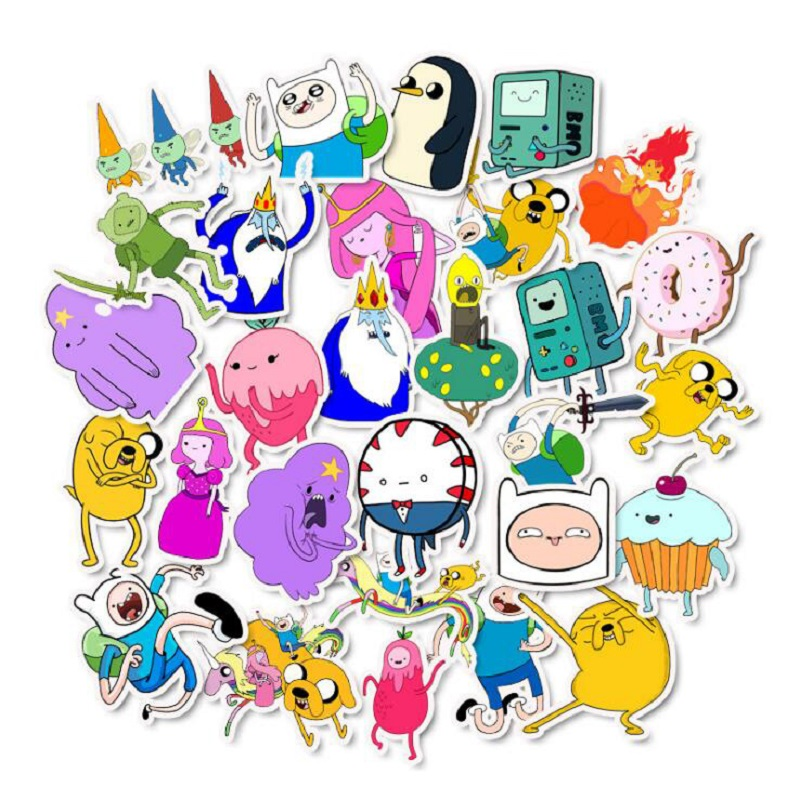 50pcs Adventure Time Cartoon Pvc Waterproof Stickers For Luggage Wall Car Laptop Bicycle Motorcycle Notebook Laptop Toys Sticker