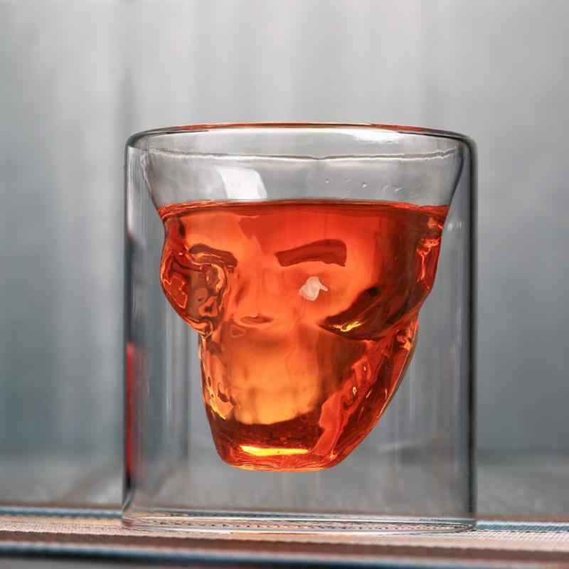 Vaso de vidrio transparente de doble capa de calavera para cerveza
