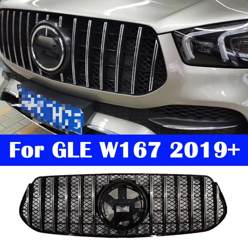 ABS merkezi ızgara dikey bar ön araba orta ızgara için mercedes-benz GLE sınıf W167 2020 GLE350 GT AMG tampon