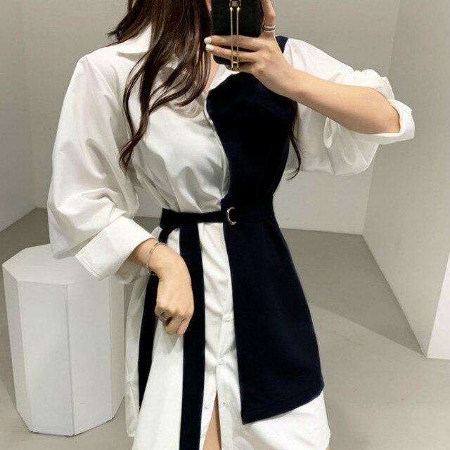 Gagaok Korean Style Spring Dress Women New 2020 Autumn Cotton Fake Two-Piece Ladies Shirt Dresses Long Sleeve Women Clothing 3