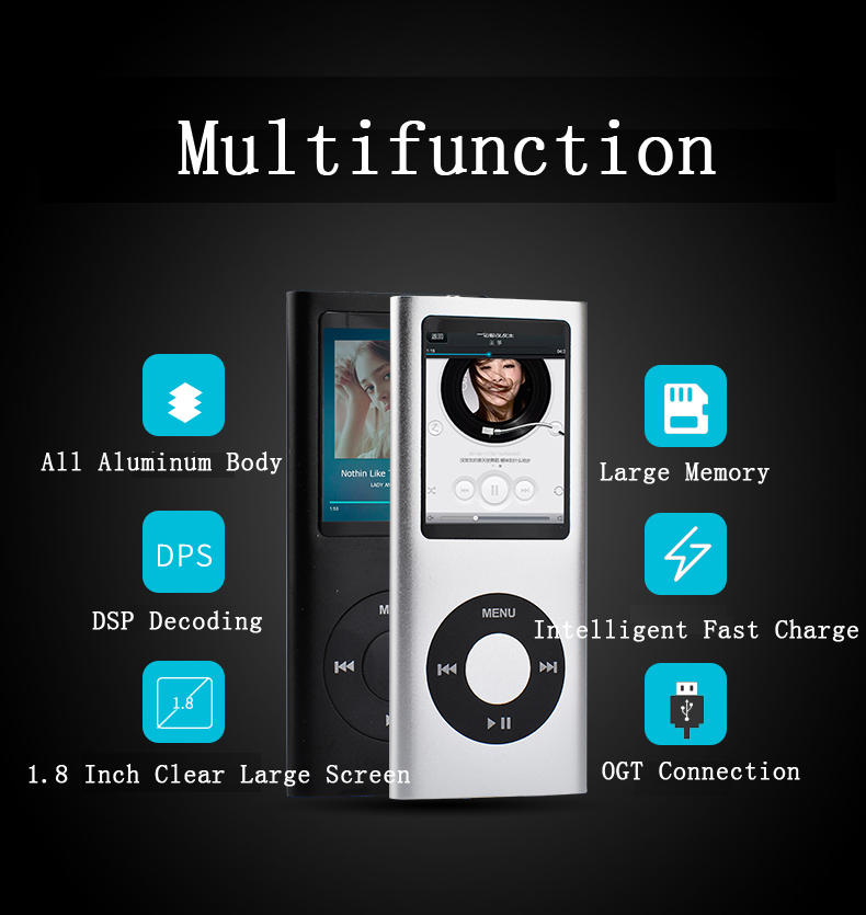 MP3 Music Player Metal Materail Portable Audio MP3 Music Player With Built-in Speaker FM Radio,Recorder,E-Book,Clock