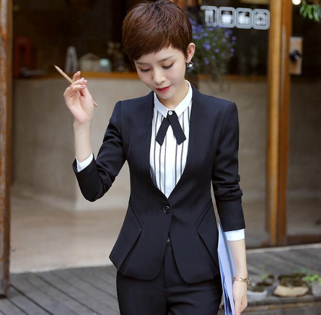 Fashion professional women blazer winter formal long sleeve slim V Neck one button jacket office ladies plus size work wear coat