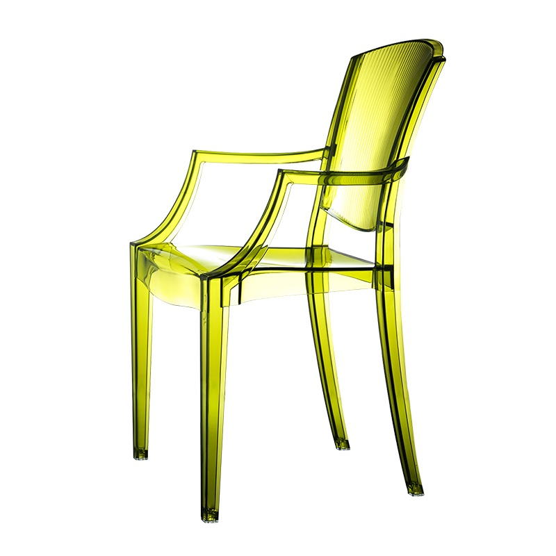 Candy Crystal Chair With Armrest / Outdoor And Indoor Use / Transparent Plastic Chairs