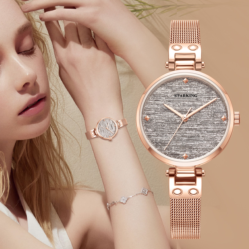 STARKING New Casual Women Romantic Starry Sky Wrist Watch Quartz Dress Watch Gift Sapphire Crystal 30mm Ultralthin Ladies Clock