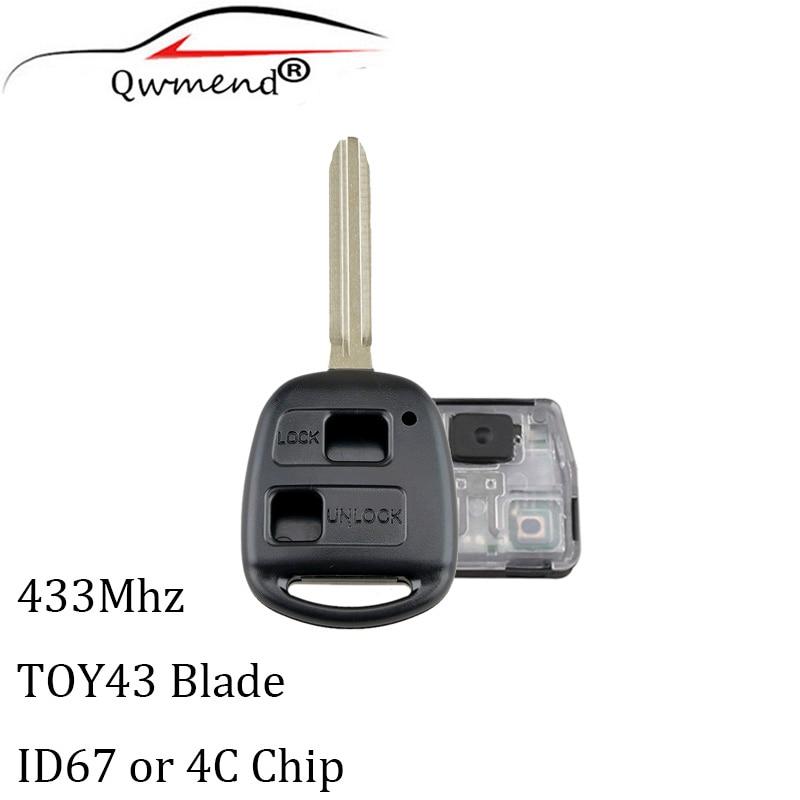Car-Remote-Key Transponder 4c-Chip Avensis RAV4 433mhz Kluger Toyota 2-Buttons Prado