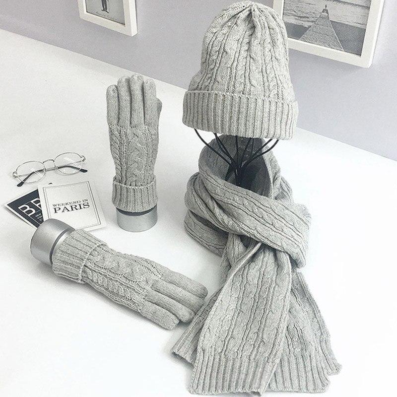 Bonnet Écharpe Gant D'hiver Tricotés Fashion