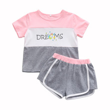 1-5Y short sleeve t-shirt top and short pants summer girl set cotton toddler girls clothing sets kids girl sport outfits girls summer clothing sets girl set cotton brand cartoon embroidered t shirt short pant toddler girl clothing for kids clothes