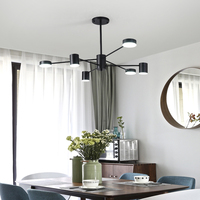 Black White Modern Led Chandelier Acrylic Round Chandeliers Ceiling For Living Room Bed Room Kitchen Lighting Fixture
