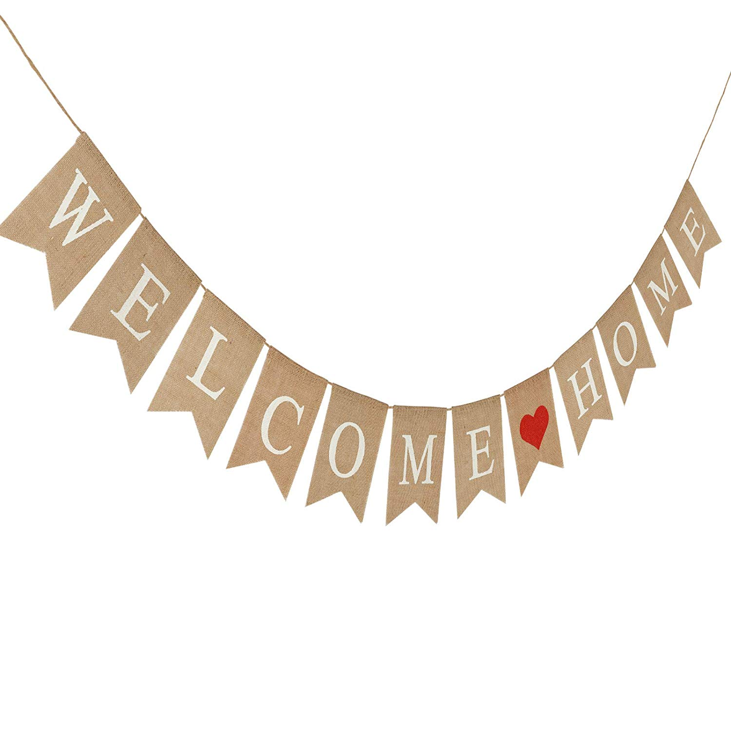 Vintage Rustic Burlap Welcome Banner Home Fireplace Decoration