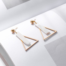 Fashion Gold Metal Triangle Geometric Drop Earrings For Women Trendy Boho Square Shell Dangle Earring Ladies Statement Jewelry lost lady luxury natural shell earring for women pearl drop earring statement geometric earrings 2019 gold color fashion jewelry
