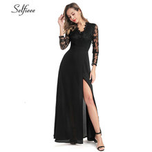 Sexy Lace Dresses Long A-Line V-Neck Full Sleeve Formal 2019 Summer Club High Split Women Party