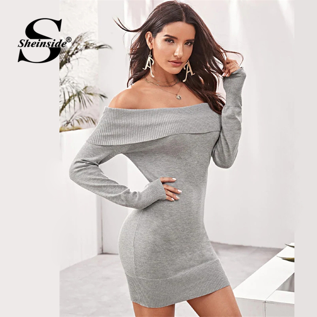 Sheinside Grey Off Shoulder Sweater Dress Without Belt Women