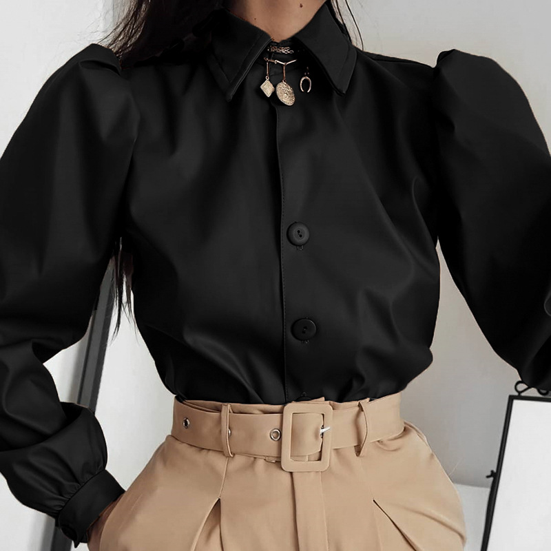 Faux Leather Shirt Women Camisas Long Puff Sleeve Buttons Elegant Vintage Autumn 2020 Spring Leather Camisas Blouse Ladies Tops