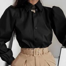 Suni deri gömlek kadın Camisas uzun puf kol düğmeleri zarif Vintage sonbahar 2020 sonbahar deri Camisas bluz bayanlar Tops Tops