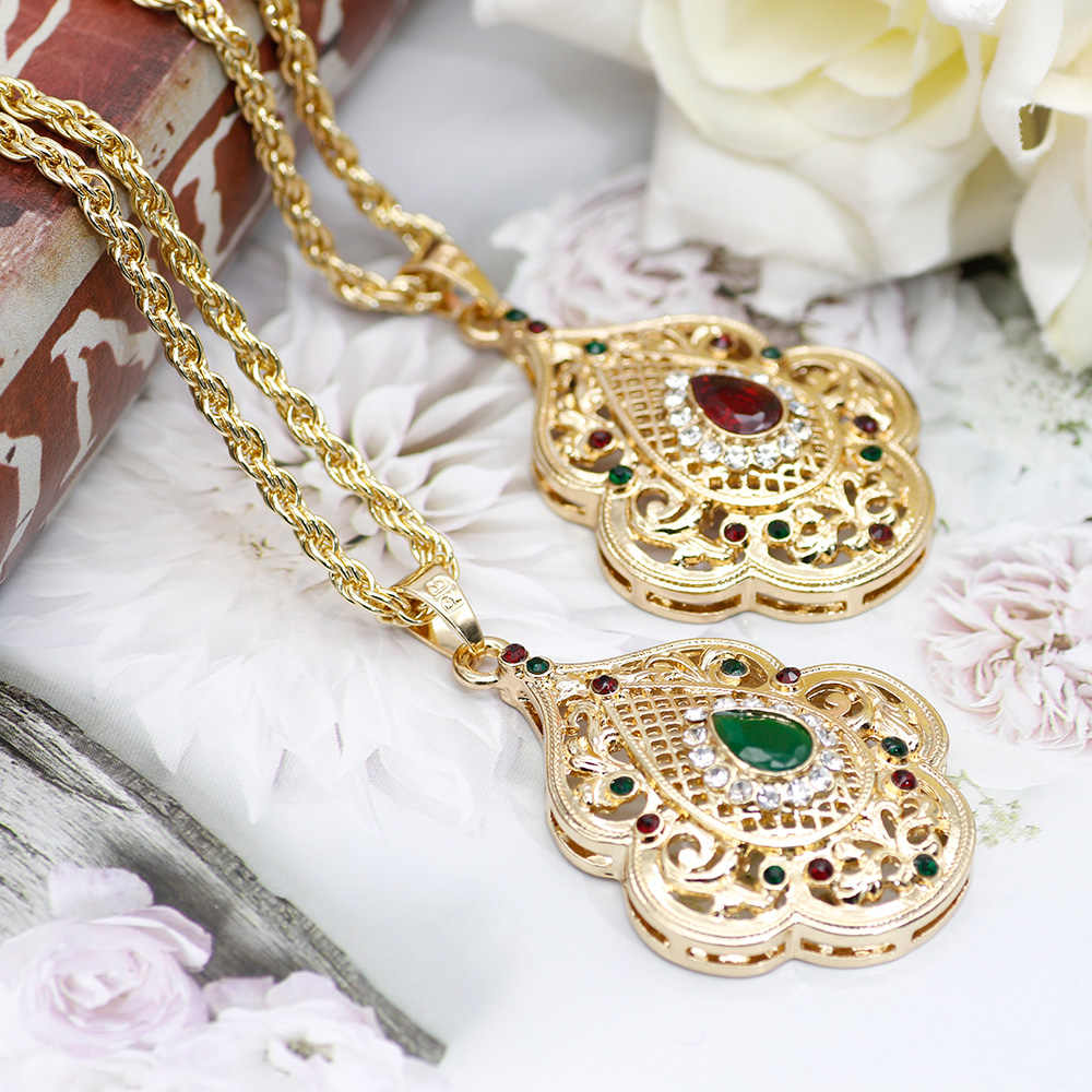 SUNSPICE MS Indian Jewelry Gold Color Long Pendant Necklace for Women Ethnic Wedding Gift Morocco Caftan Metal Flower Accessory