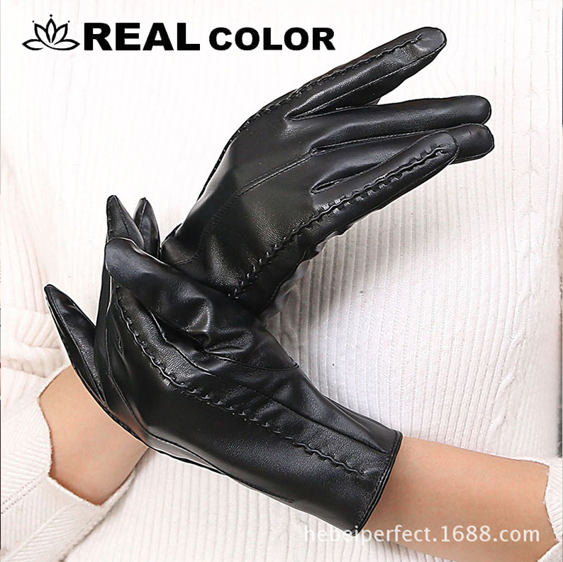 Gloves Winter Elegant Women Genuine Hot Autumn Lambskin And Female Trendy High-Quality