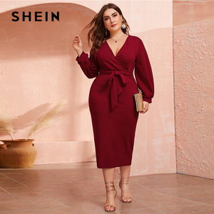Image 4 - SHEIN Plus Size Burgundy Plunging Neck Wrap Belted Pencil Long Dress Women Autumn High Waist Fitted Slit Wrap Party Sexy Dresses