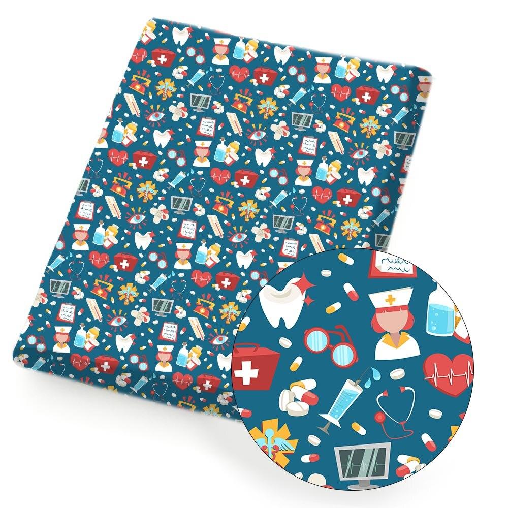 Algodão poliéster tecido de proteção tema enfermeira boné impresso tecido diy costura pano casa têxtil vestuário 45*145cm 80 g/pc ibows