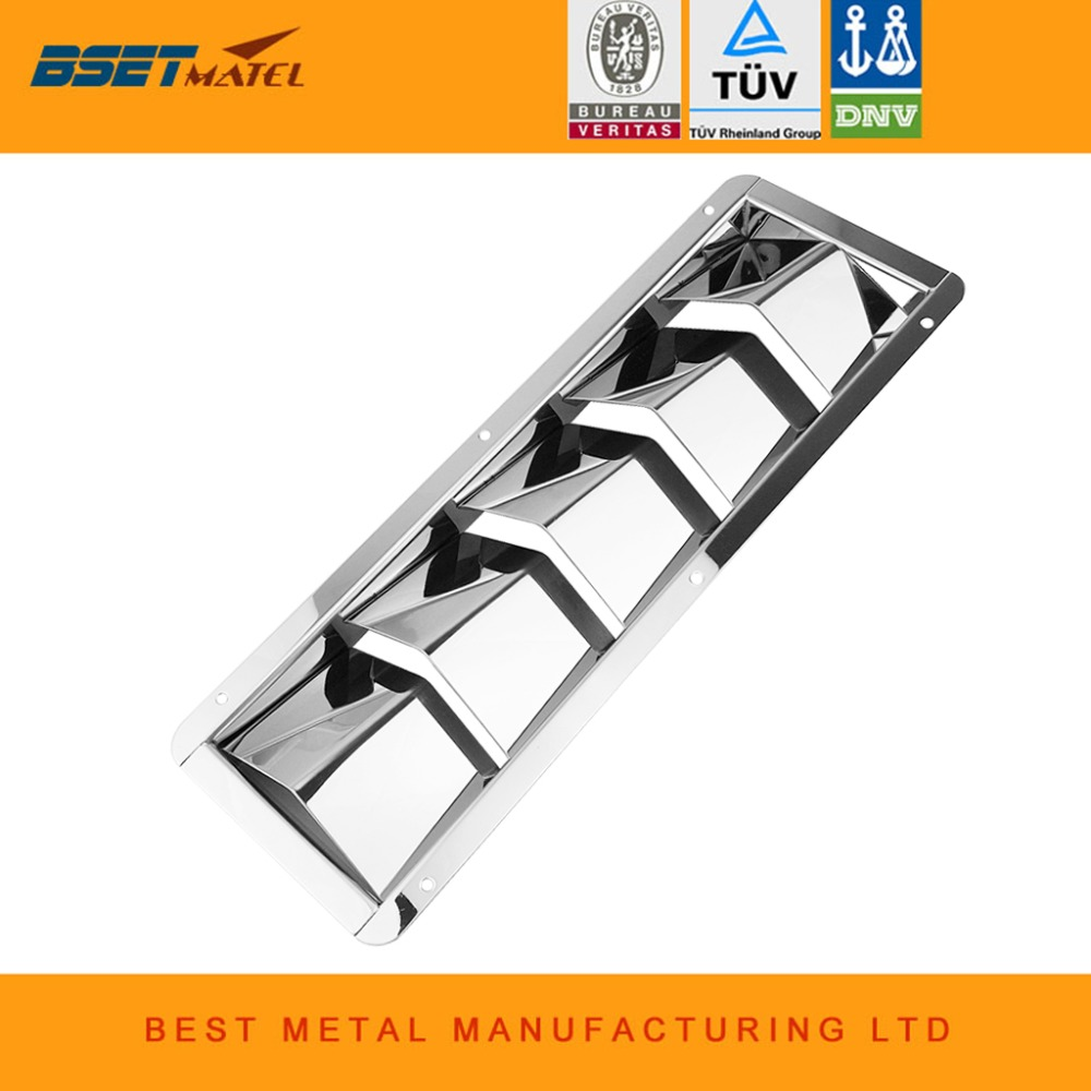 BSET MATEL 5 Slots Stainless Steel 304 Boat Marine Air Louver Vent Grille Ventilation Louvered Ventilator Grill Cover
