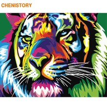 CHENISTORY Frame Colorful Tiger DIY Painting By Numbers Animals Coloring By Numbers Modern Wall Art Canvas Painting Home Decor