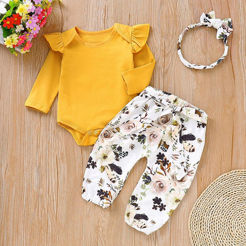 PatPat Spring Autumn Cotton Newborn Ruffled Ginger Jumpsuit Floral Pants Headband 3-Piece Set For Baby Girl