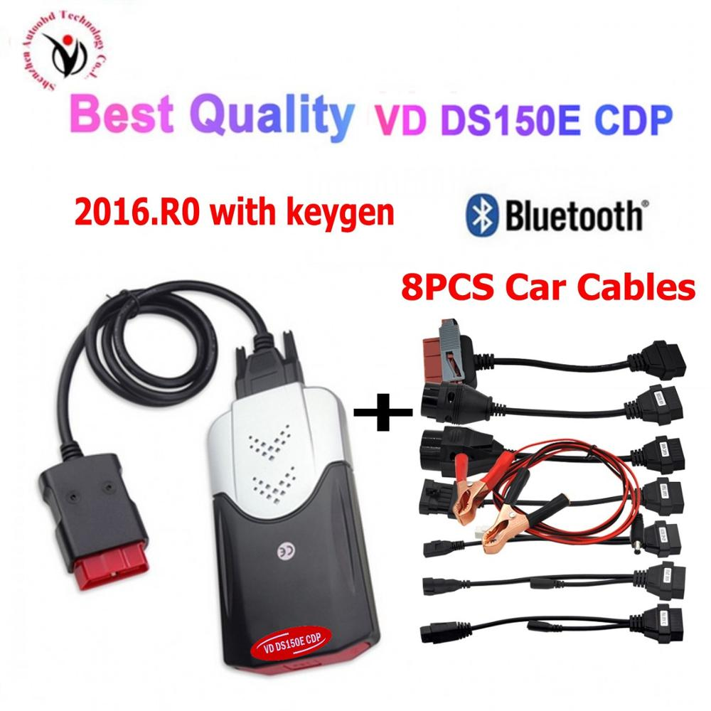 2020 VD TCS CDP PRO Plus 2015R3 /2016r0 Keygen With Bluetooth New Vci Vd Ds150e Cdp OBD2 Diagnostic Tool+8 Car Cables Can Choose