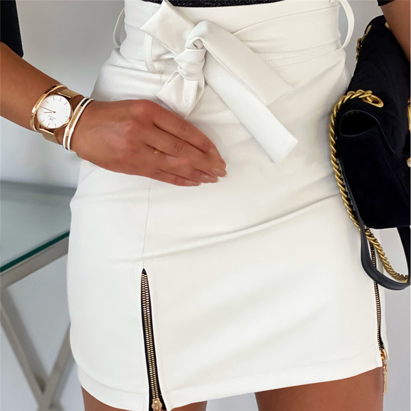Womens High Waist PU Leather Mini Skirt Sexy Office Work Zipper Bandage Bodycon Pencil Skirts 2020 Elegant Stylish Skirt Female