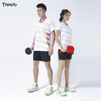 Nowa podkładka pod mysz zestaw do tenisa kobiet mężczyzna Badminton strój sportowy z krótkim rękawem pingpong damska koszulka dresowa z szortami zestaw tenisowy biały tanie i dobre opinie TANANSTY WOMEN Pasuje prawda na wymiar weź swój normalny rozmiar ADMA-P828 Men Women quick-dry wicking breathable table tennis badminton Running Jogging Racing