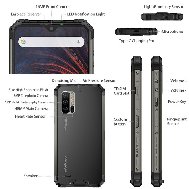 Ulefone Armor 7 IP68 Rugged P90 Octa Core 8GB+128GB Android 9.0 48MP 4G LTE  Global Version Smartphone