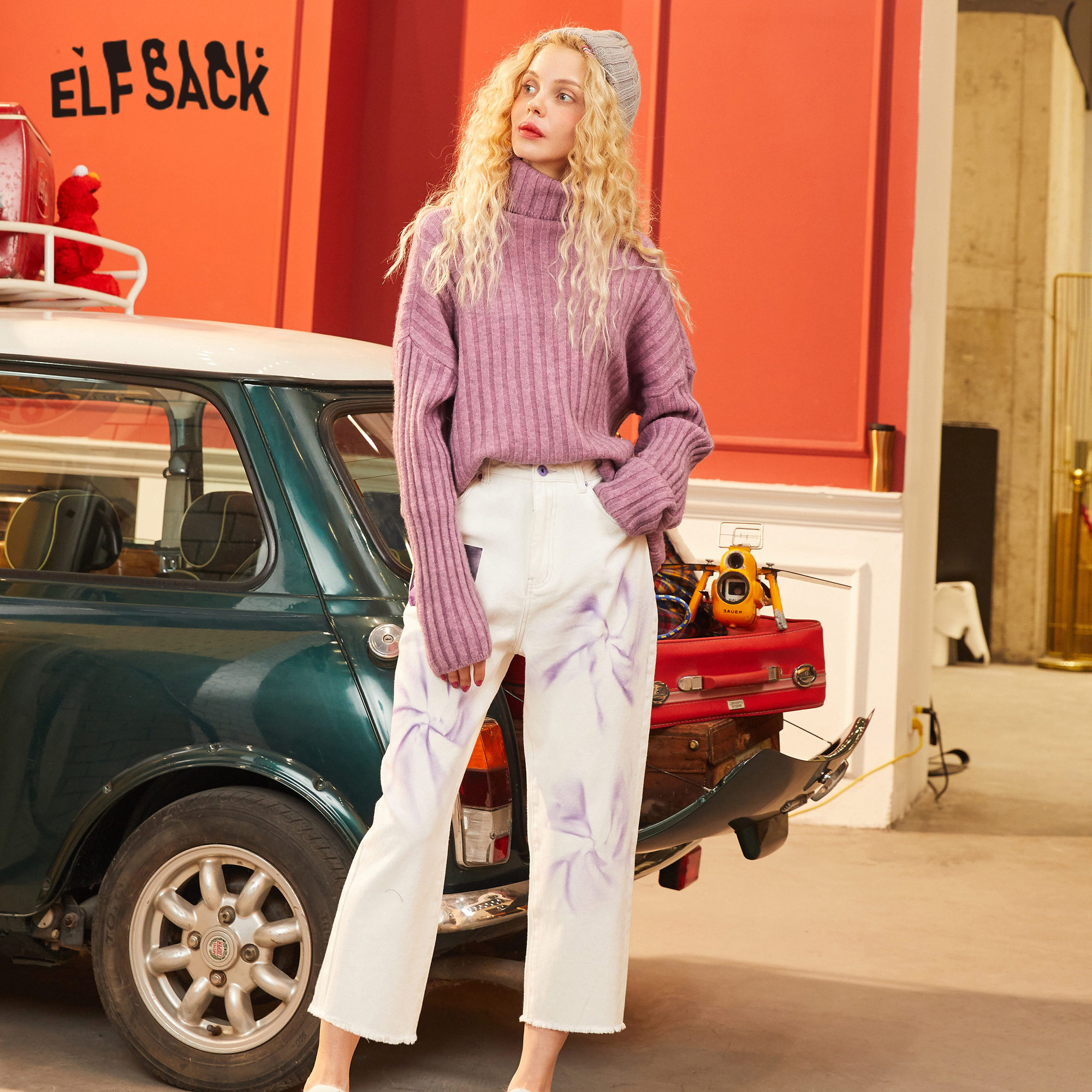 ELFSACK White Graphic Print Straight Casual Women Pants 2020 Spring New Colorblock High Waist Korean Ladies Daily Trouser
