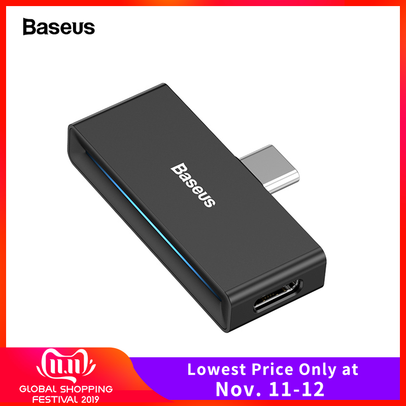 Baseus USB Type C To 3.5mm Jack Headphone AUX OTG Adapter For Huawei P30 Xiaomi Samsung Note 10 Plus USB-C Fast Charge Splitter
