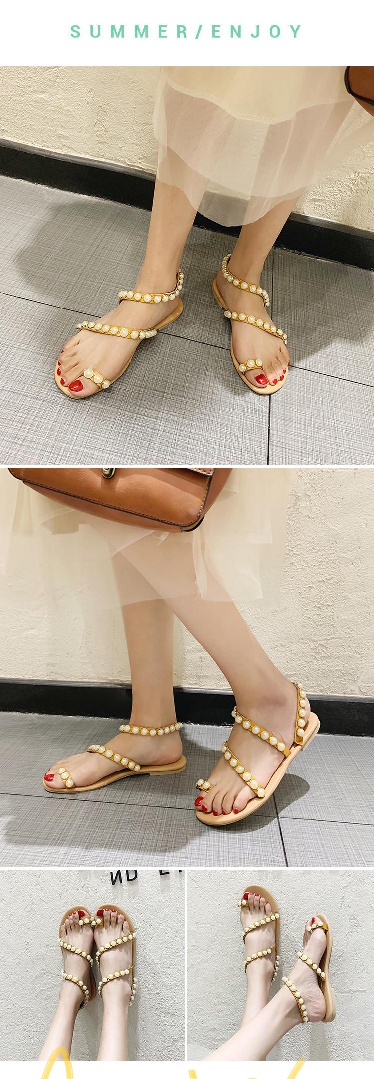 Boêmio sandálias de pérolas femininas, chinelos de