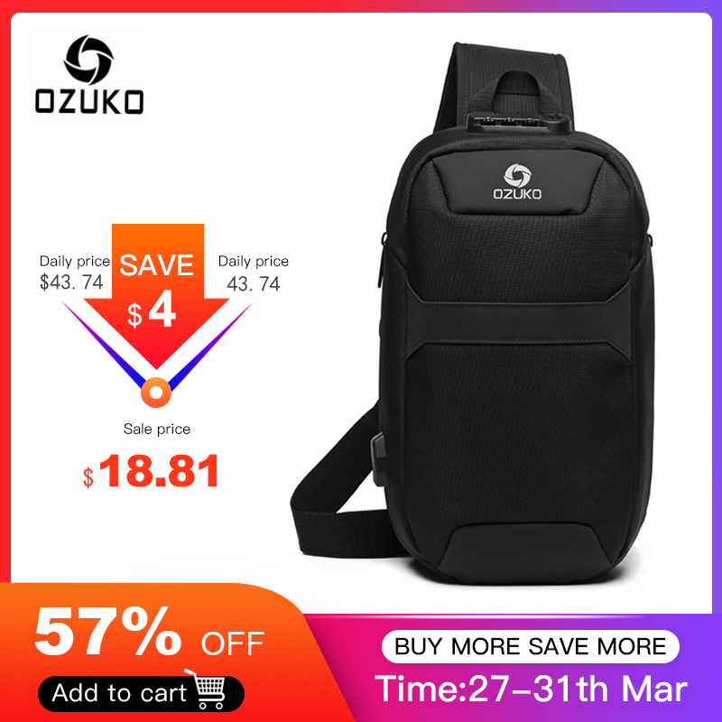 OZUKO Men Anti-theft Crossbody Bags Male Waterproof USB Charging Chest Pack Short Trip Messenger Sling Bag Shoulder Chest Bag