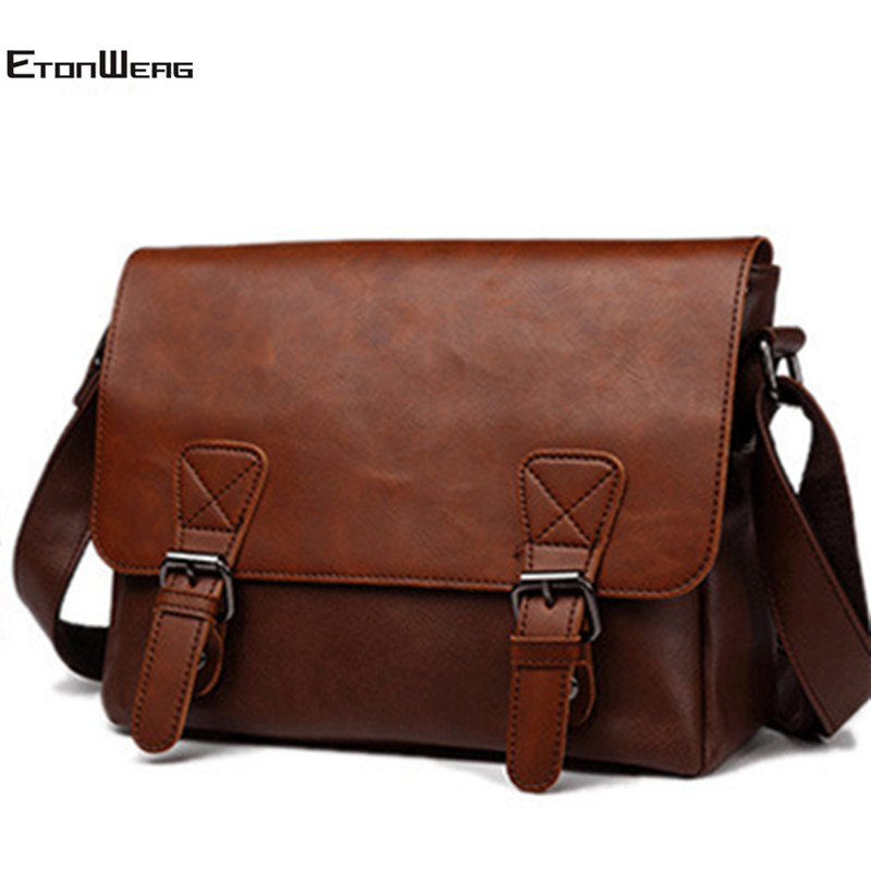 Men's Vintage Messenger Bag Brand  PU Leather Shoulder Bag Women Large Capacity Casual Crossbody Bags Male Retro Travel Bag 2019