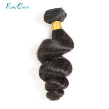 Ali FumiQueen Loose Wave Natural Color Brazilian Hair Weave Bundles 100% Human Hair Extensions 1/3/4 Pcs Non-Remy Hair Weaving(China)