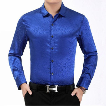 Men's shirt new middle-aged men's leopard print long-sleeved bright shirt Chinese style business casual gentleman men's shirt