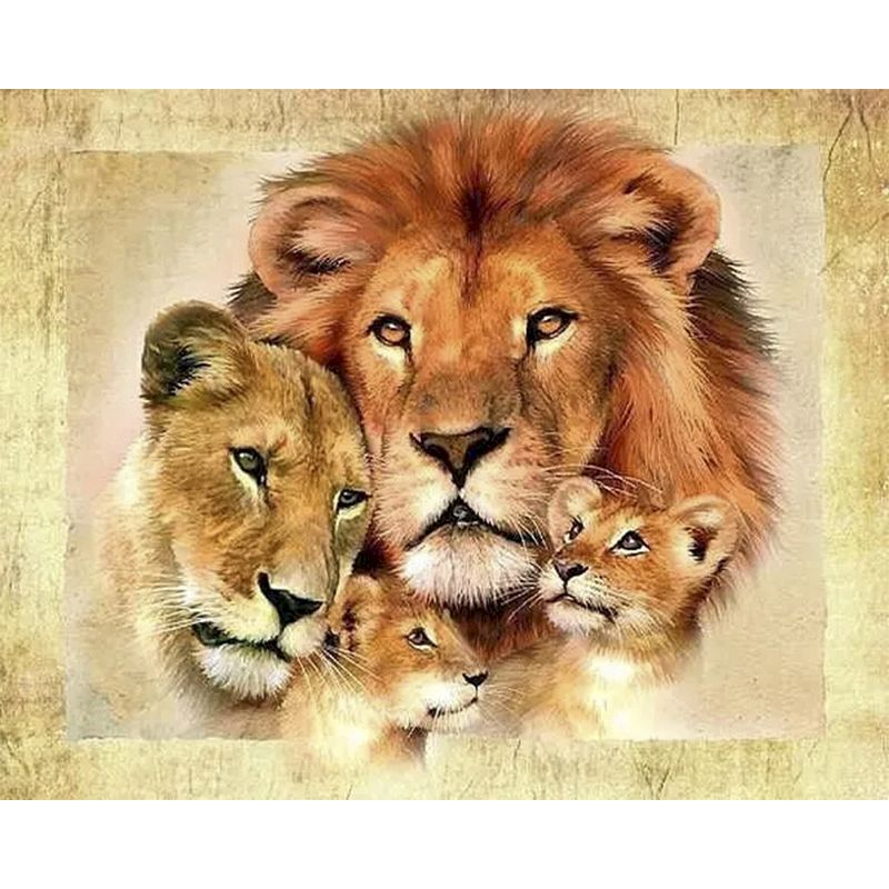 Painting By Numbers Lion Family DIY Animals 60x75cm Pictures Oil Painting By Numbers Modern Acrylic Coloring By Numbers Canvas-0