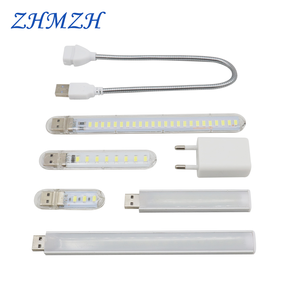 DC5V Mini USB LED Night Light 3LEDs 8LEDs 10LEDs 24LEDs Book Lamp Extension Pole US Plug Adapter For Reading Notebook Power Bank