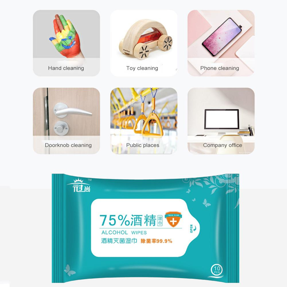 10Pcs/lot Disposable 75% Alcohol Cotton Sheet Nail Cleaning Disinfection Bag Wipes Sterilize Disinfection Wipes Sterilize 99.9%