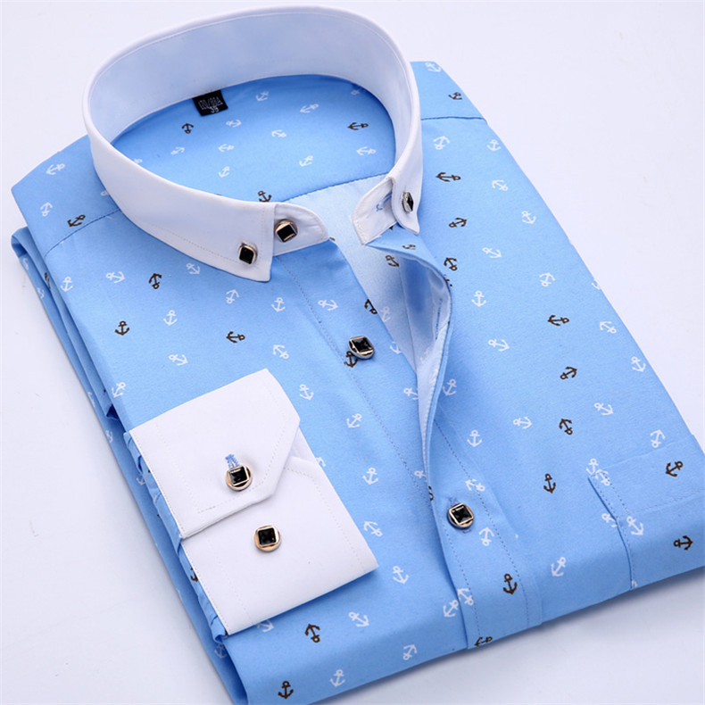 CAMISA MARINHEIRO SOCIAL MASCULINA SLIM COM DESENHO DE ÂNCORA -camisa social cor azul - camisa com gola de outra cor, camisa social estilosa luxuosa