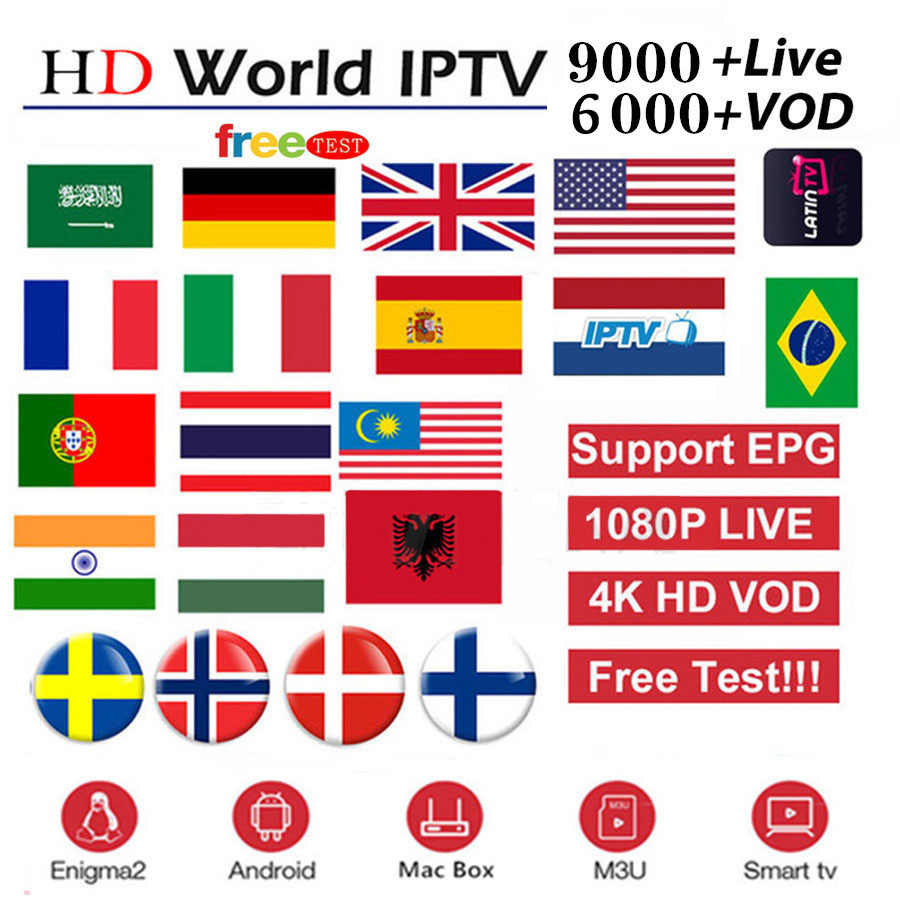 IPTV M3u Subscription Iptv UK German French Arabic Spanish Italy 8000 Live+ VOD Arabic Premium For Android Box Enigma2 Smart TV