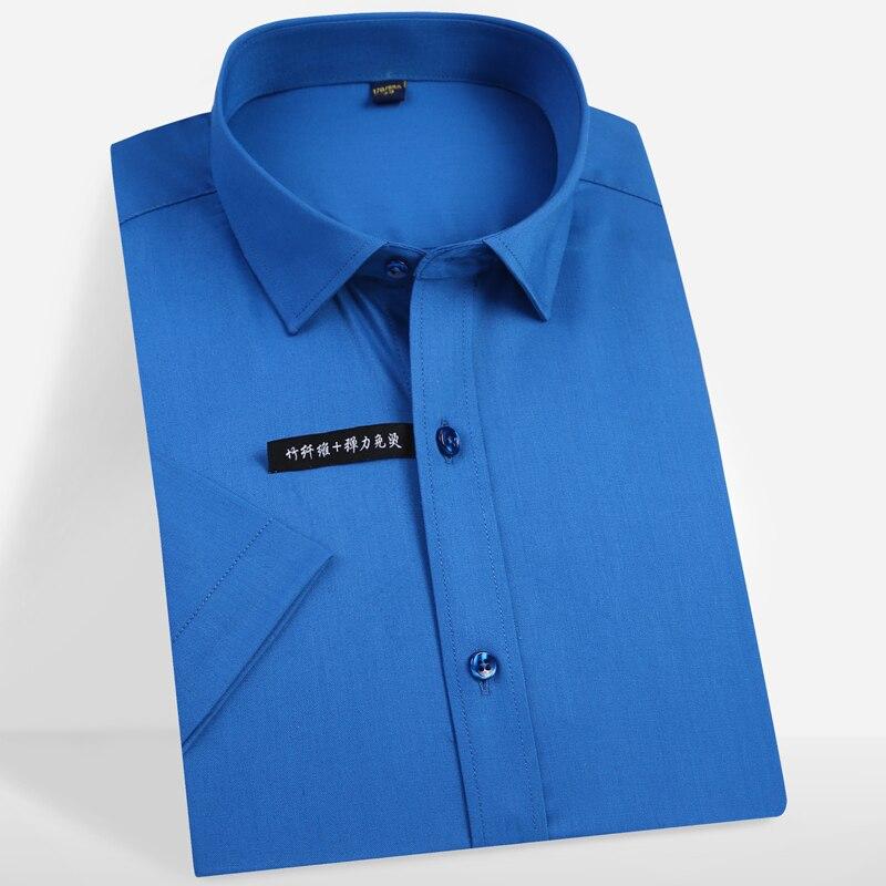 Men Short Sleeve Stretch Easy Care Solid Dress Shirts Pocket-less Design Comfortable Soft Bamboo Fiber Standard-fit Formal Shirt 1