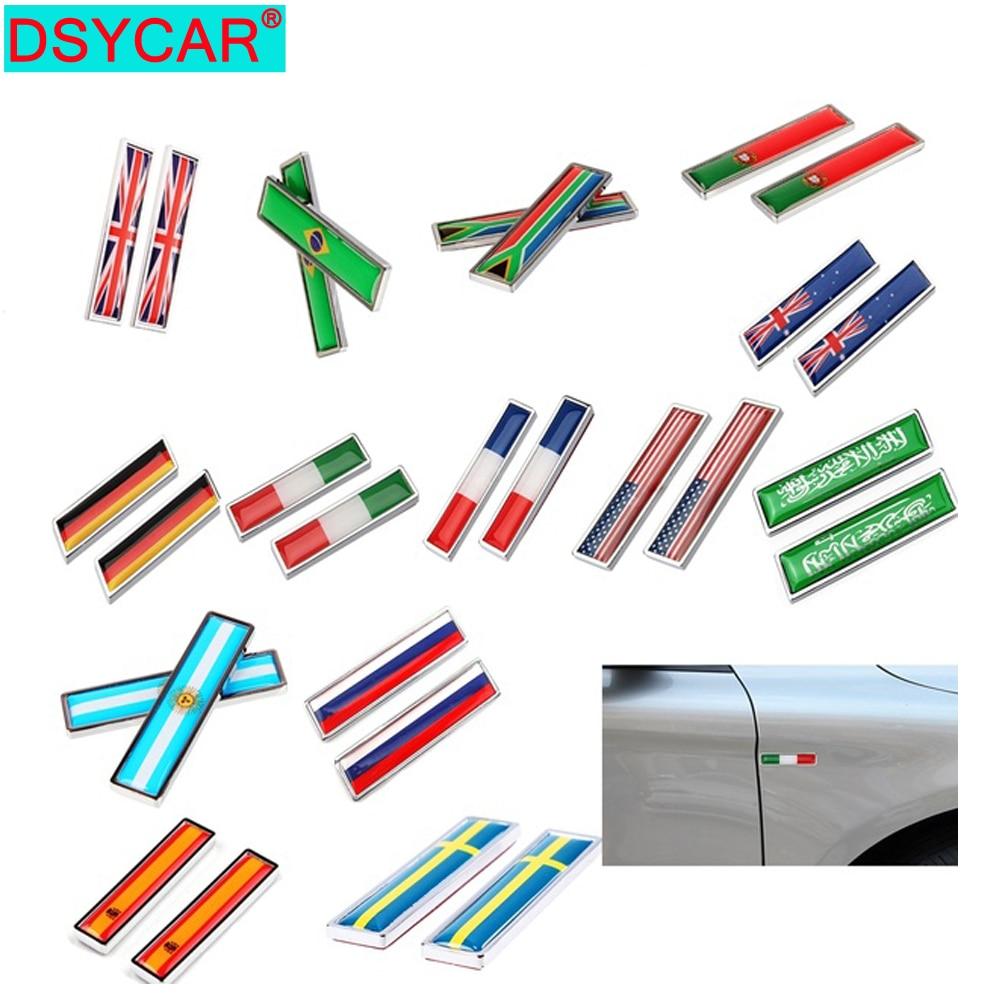DSYCAR, 1 пара, автомобильный Стайлинг, 3D цинковый сплав, итальянский, бразильский, французский, русский, США, испанский, немецкий флаг, эмблема, ...