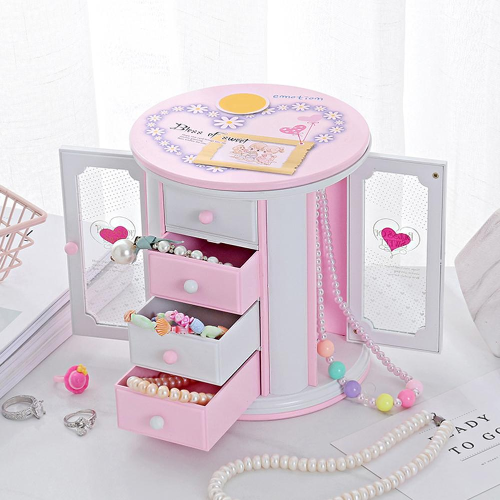 3 Layer Necklace Jewelry Storage Case Music Box Kids Clockwork Toy Desk Decor Gift For Girls Lovely Table Ornament