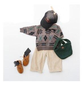 Image 3 - בנות סוודר עם מלא שרוול ילדים רך בד סרוג קרדיגן ילדים בגדים מקרית משובץ דפוס רופף יוניסקס בסוודרים סוודר
