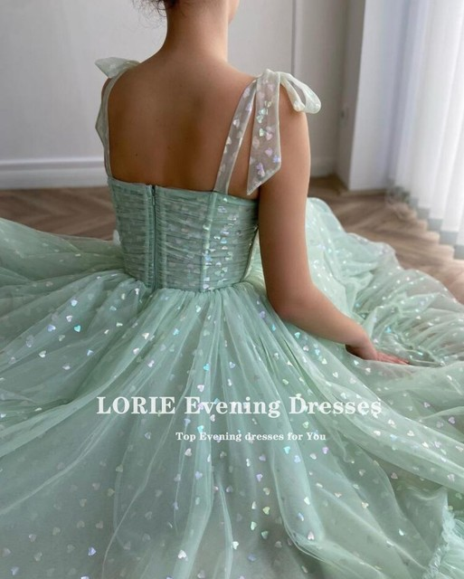 LORIE Shiny Fairy Prom Dresses Sweetheart Mint Green Tulle Tea Length Wedding Party Gown Short Graduation Robes de cocktail 3