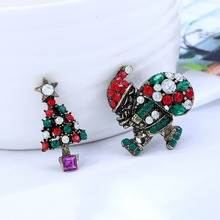 Unisex Rhinestone Christmas Brooch Pin Multicolored Crystal Boots Snowman Badges For Clothes Coat Decor New Year
